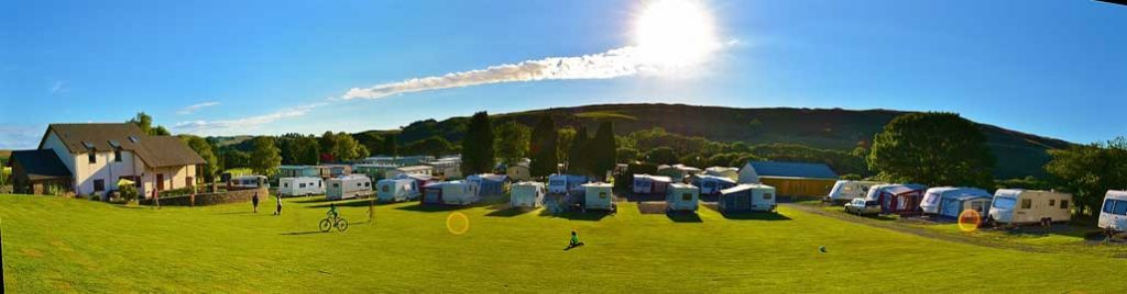 Panoramic view of Erwbarfe Farm Caravan Park